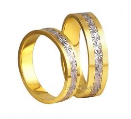 Komplet złotych obrączek ślubnych, dwukolorowych z ozdobnym diamentowaniem