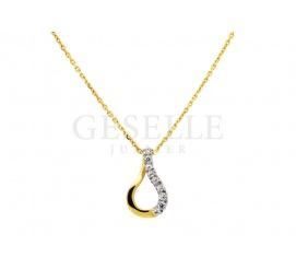 Elegancka zawieszka z żółtego złota próby 585 w kształcie kropli z lśniącymi cyrkoniami