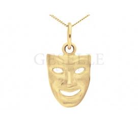 Oryginalna złota zawieszka próby 585 w kształcie teatralnej maski - pomysł na prezent!