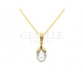 W stylu Coco Chanel - elegancka złota zawieszka z perłą i cyrkoniami, próba 585
