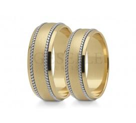 Solidne obrączki ślubne z żółtego złota z ozdobnymi warkoczami przy krawędzi