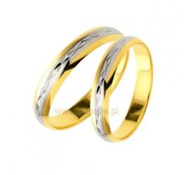 Delikatne, grawerowane obrączki ślubne z białego i żółtego kruszcu pr. 585