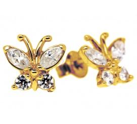 Delikatne kolczyki dla dziewczynki - złote motylki próby 585 z lśniącymi cyrkoniami - zapinane na sztyfty