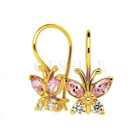 Urocze złote kolczyki dla małej dziewczynki - słodkie motylki z różowymi i białymi cyrkoniami