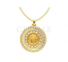 Ciesząca się popularnością zawieszka z 14-karatowego złota w stylu Versace - meduza i grecki motyw