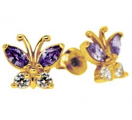 Lśniące motyle - urocze złote kolczyki dla dziewczynki z fioletowymi i białymi cyrkoniami
