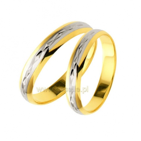 Para złotych, dwukolorowych obrączek ślubnych z ozdobnym diamentowaniem