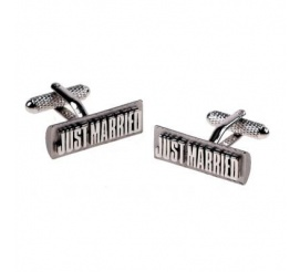 Dla Pana Młodego - stalowe spinki do mankietów z napisem JUST MARRIED