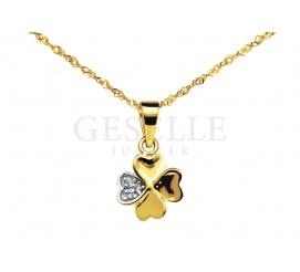 Na szczęście! - urocza zawieszka ze złota w kształcie koniczynki z lśniącym płatkiem