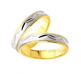 Oryginalne, złote obrączki ślubne z ozdobnym zygzakiem i polerowanymi bokami