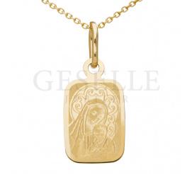 Prostokątny medalik ze złota próby 333 z Matką Boską z Dzieciątkiem Jezus