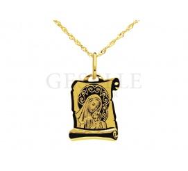 Złoty medalik w kształcie papirusu z wizerunkiem Matki Boskiej z Dzieciątkiem