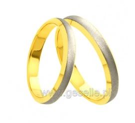 Obrączki ślubne z dwóch kolorów złota próby 585 - ponadczasowy design, ozdobny mat, bezszwowa technologia wykonania