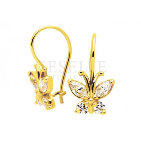 Pierwsze kolczyki dla małej dziewczynki - złote motyle z białymi cyrkoniami