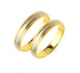 Dwukolorowe obrączki ślubne w minimalistycznym stylu - kompozycja z dwóch kolorów złota z ozdobnym matem