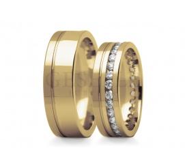 Olśniewające obrączki do ślubu w klasycznym żółtym 14K złocie dookoła oprawione cyrkonie Swarovski ELEMENTS lub brylanty