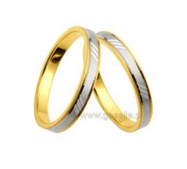 Wybór wielu par! - dwubarwne obrączki ślubne z polerowanymi bokami z żółtego złota i bazą z białego
