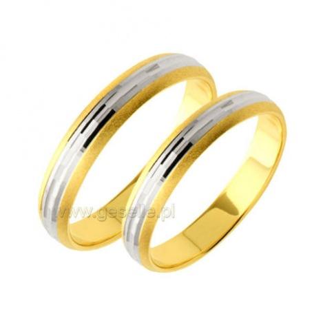 Dwukolorowe złote obrączki ślubne z lśniącymi bokami i diamentowaną bazą