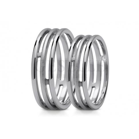 Ultranowoczesne obrączki ślubne z białego złota - trzy pierścienie matowane oraz polerowane