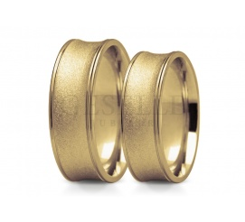 Niestandardowe obrączki ślubne ze złota próby 585 oryginalny kształt i ciekawe wykończenie