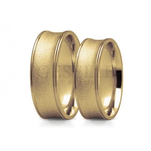 Niestandardowe obrączki ślubne ze złota oryginalny kształt i ciekawe wykończenie