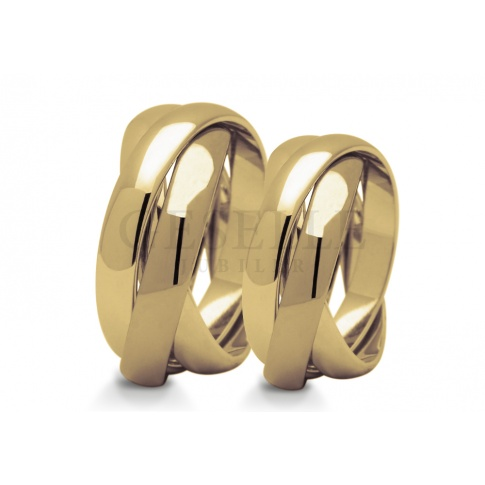 Oryginalna para obrączek ślubnych z żółtego złota - trzy połączone krążki całość polerowana