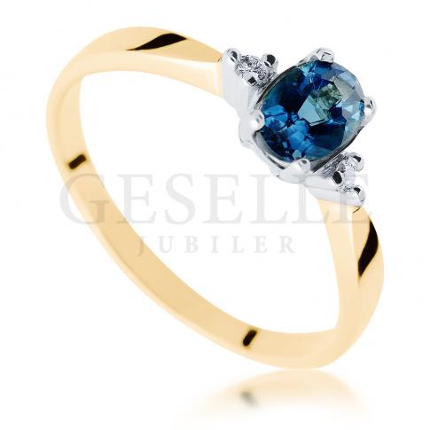 Pierścionek zaręczynowy w stylu retro z owalnym topazem London i brylantami 0.03 ct