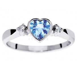 Uroczy pierścionek zaręczynowy z sercem - błękitny topaz i brylanty w białym złocie próby 585