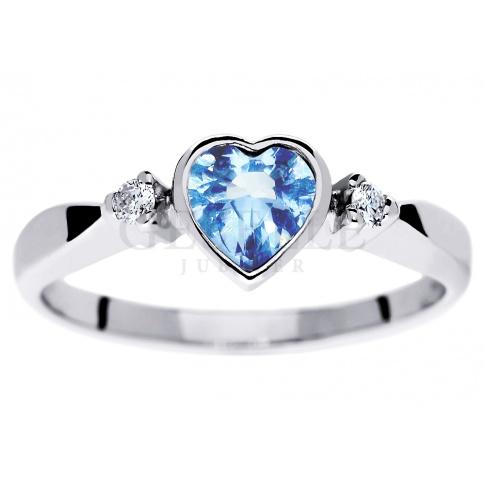 Uroczy pierścionek zaręczynowy z sercem - błękitny topaz i brylanty w białym złocie