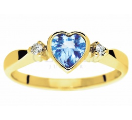 Złoty pierścionek zaręczynowy z kamieniem w kształcie serca - błękitny topaz swiss blue i wieczne brylanty 0,04 ct