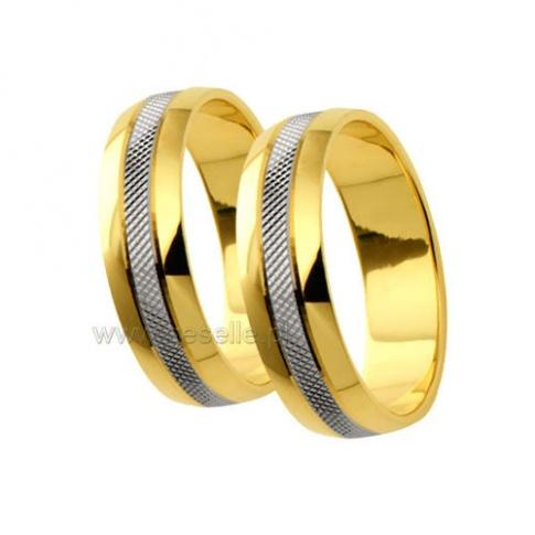 Oryginalne, dwukolorowe obrączki z 14-karatowego złota z lśniącymi bokami i matowym środkiem