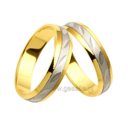 Pełne elegancji obrączki ślubne z polerowanymi bokami z żółtego i szeroką wstęgą z białego złota