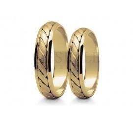 Zachwycająca para obrączek ślubnych z żółtego 14 karatowego złota - fantazyjnie pleciony środek