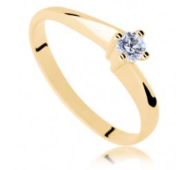 Cieszący się popularnością złoty pierścionek zaręczynowy z brylantem o masie 0.15 ct