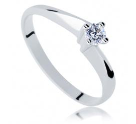 Czarujący pierścionek zaręczynowy z brylantem 0.15 ct - białe złoto z kolekcji Klasycznej