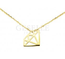 Urocza złota zawieszka - celebrytka z diamentem 585 - doskonała na prezent! HIT naszyjnik gwiazd