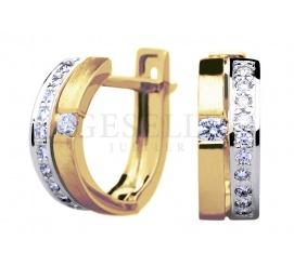 Efektowne, złote kolczyki z diamentami o szlifie brylantowym o łącznej masie 0,30 ct na prezent