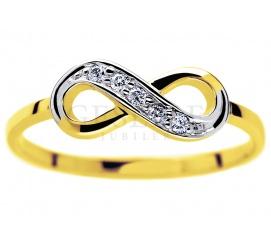 Oryginalny pierścionek z symbolem nieskończoności - żółte złoto próby 585 oraz brylanty