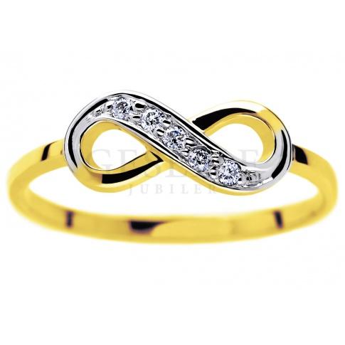 Oryginalny pierścionek z symbolem nieskończoności - żółte złoto oraz brylanty