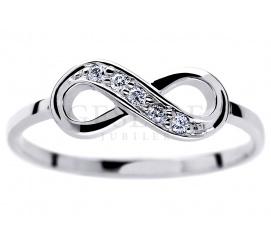Niezwykły pierścionek ze znakiem nieskończoności z białego złota 14K z brylantami 0.05 ct