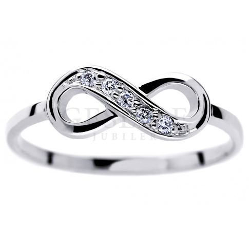 Niezwykły pierścionek ze znakiem nieskończoności z białego złota z brylantami 0.05 ct