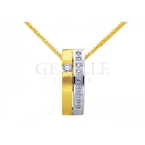 Elegancka zawieszka z żółtego złota z jedenastoma brylantami o łącznej masie 0,15 ct