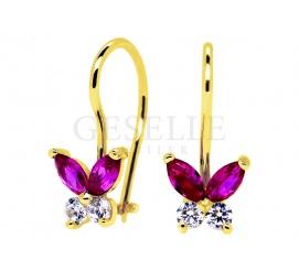 Delikatne, złote kolczyki dla małej dziewczynki z cyrkoniami - motylki