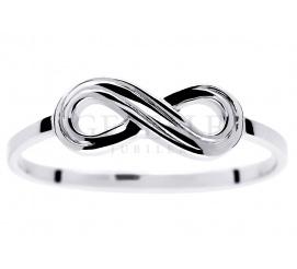 Oryginalny pierścionek z symbolem nieskończoności z białego złota próby 585