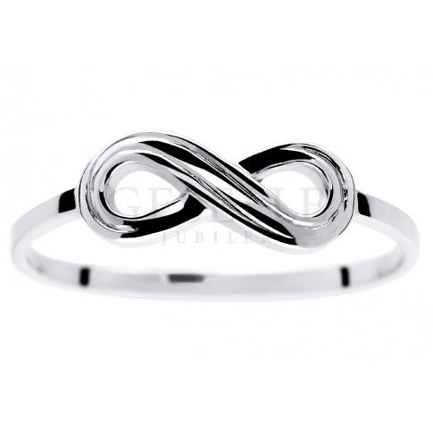 Oryginalny pierścionek z symbolem nieskończoności z białego złota