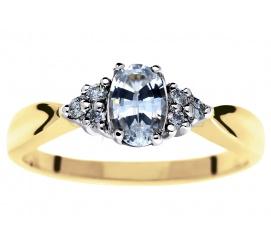 Niespotykany pierścionek zaręczynowy z klasycznego z brylantami 0,09 ct i białym szafirem