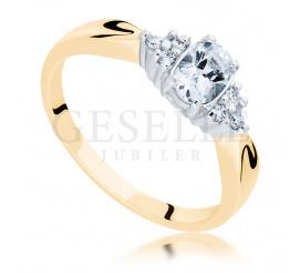 Niespotykany pierścionek zaręczynowy z klasycznego z brylantami 0.09 ct i białym szafirem