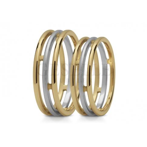 Oryginalne obrączki ślubne z trzech dwubarwnych pierścieni