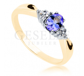 Elegancki, złoty pierścionek zaręczynowy z unikatowym tanzanitem i sześcioma brylantami o łącznej masie 0,09 ct