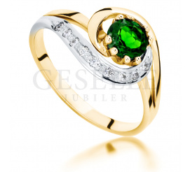 Złoty pierścionek zaręczynowy w stylu retro z szmaragdowozielonym diopsydem i brylantami 0,09 ct